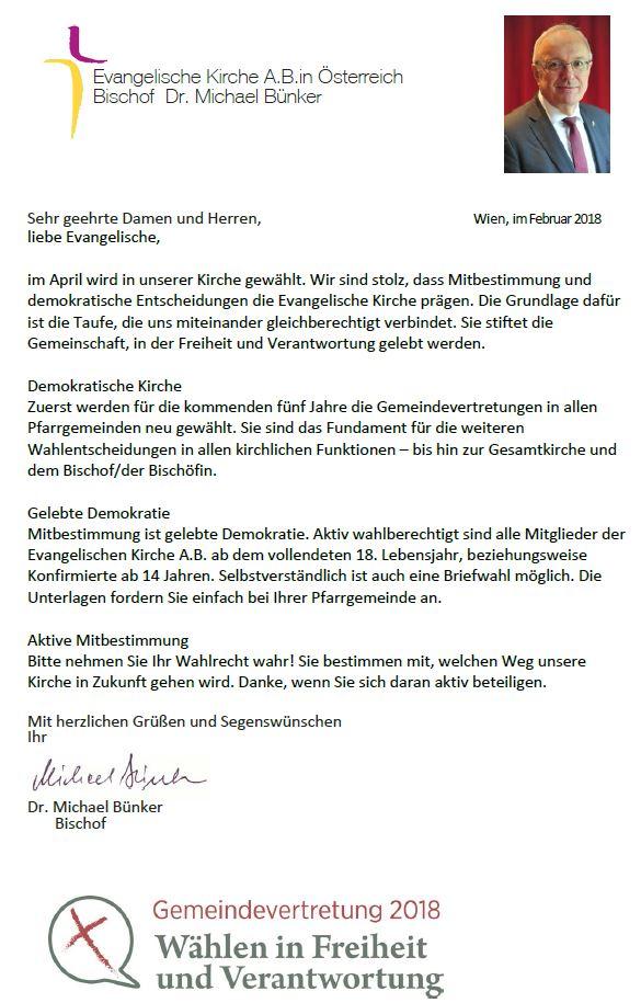 Gemeindevertretungswahlen Brief Unseres Bischofs Evangelische